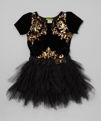 Black & Gold Rocking Velvet Tutu Dress - Girls