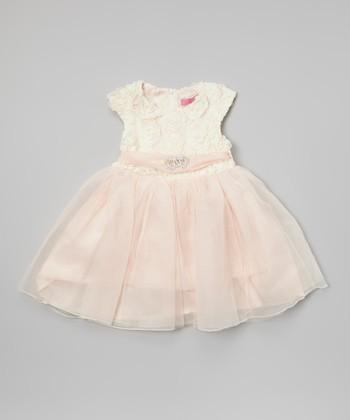 Ivory & Blush Rosette Dress - Infant, Toddler & Girls