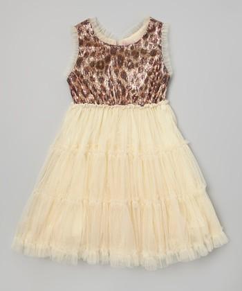 Gold Leopard Glam Sleeveless Dress - Toddler & Girls