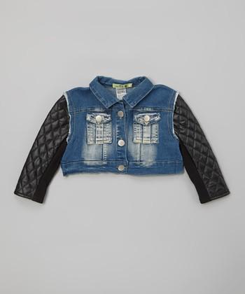 Denim Twist Faux Leather Sleeve Jacket - Toddler & Girls