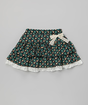 Black & Turquoise Floral Tiered Skirt - Toddler & Girls