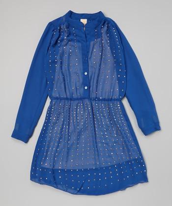 Blue Butter Chiffon Dress - Girls