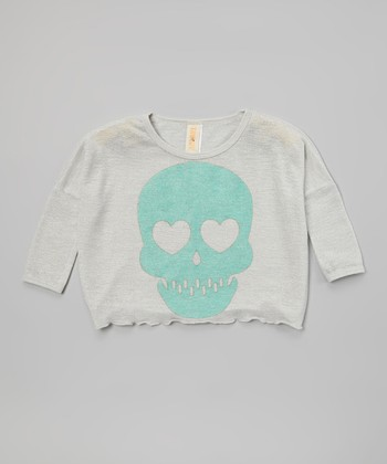 Gray & Turquoise Skull Gypsy Top - Girls