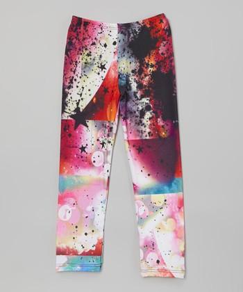 Pink Astro Girl Galaxy Leggings - Girls