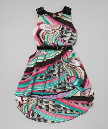 Turquoise & Pink Swirl Pucci Hi-Low Dress - Girls