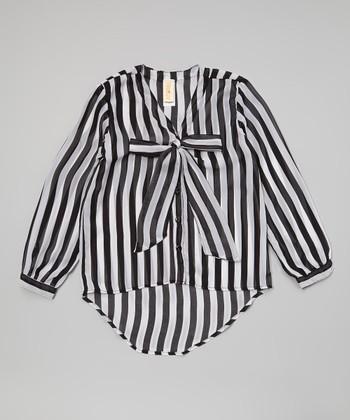 Black & White Stripe British Tie Button-Up - Girls