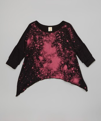 Black & Pink Astro Girl Galaxy Sidetail Tunic - Girls