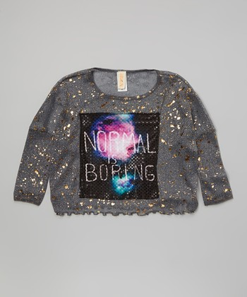 Charcoal Astro Girl 'Normal is Boring' Patch Top - Girls