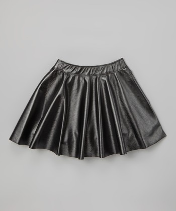 Black Faux Leather Skirt - Girls