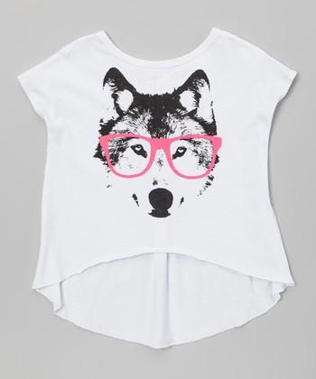White Urban Neon Wolf Hi-Low Top - Girls