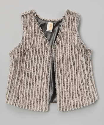 Black & Beige Faux Fur Reversible Vest - Girls