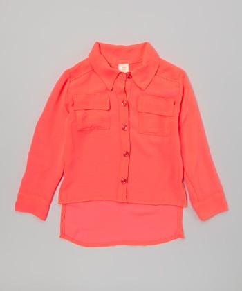 Neon Orange Urban Hi-Low Button-Up - Girls