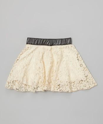 Ivory & Black Norway Lace Skirt - Girls