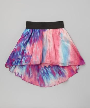 Pink & Blue Silk-Blend Hi-Low Skirt - Girls