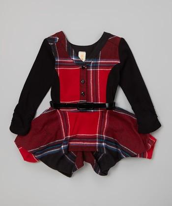 Red Plaid Belted Handkerchief Dress - Girls