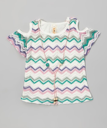 Teal & Purple Zigzag Lace Necklace Cutout Top - Girls