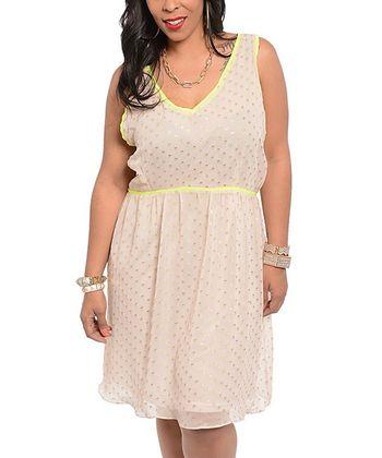Cream & Gold Polka Dot V-Neck Dress - Plus
