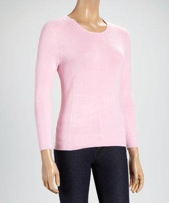 Pink Embellished Three-Quarter Sleeve Top