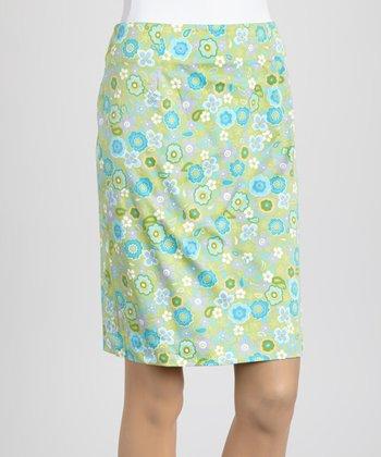 Lime Retro Flower Skirt
