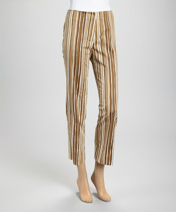 Taupe Stripe Ankle Pants