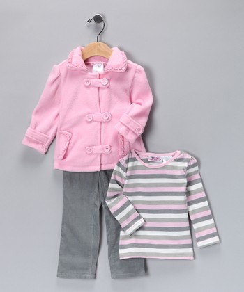 Rosy Petal Fleece Jacket Set - Infant