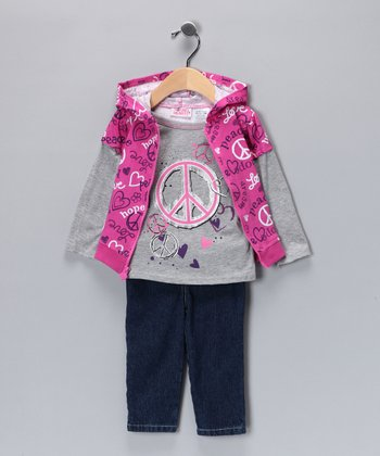 Purple & Pink Peace Sign Pants Set - Infant