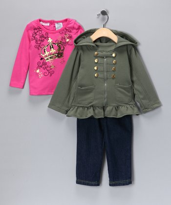 Olive Military Jacket Set - Infant
