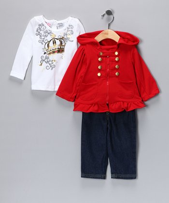 Red Military Jacket Set - Infant