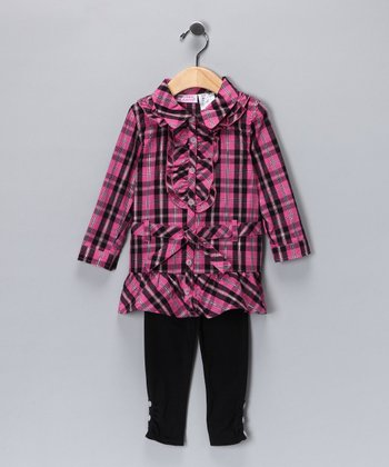 Dark Pink Ruffle Button-Up Tunic & Leggings - Girls