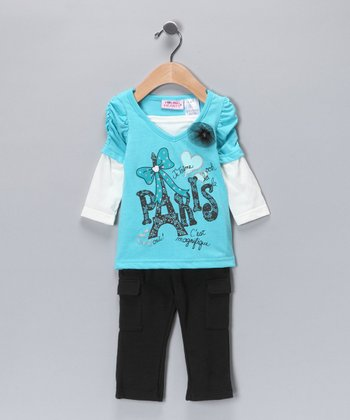 Aqua 'Paris' Layered Tunic & Pants - Infant, Toddler & Girls