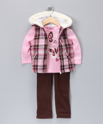 Rosy Petal Plaid Butterfly Vest Set - Toddler