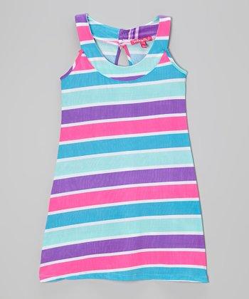 Purple Pop Stripe Yoke Dress - Infant, Toddler & Girls