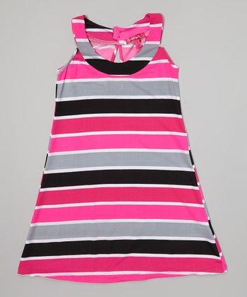 Fab Fuchsia Stripe Yoke Dress - Infant, Toddler & Girls
