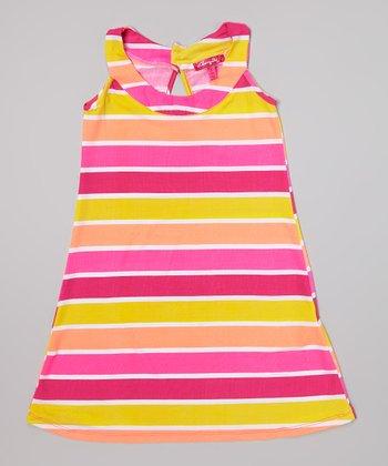 Day-Glow Yellow Stripe Yoke Dress - Infant, Toddler & Girls