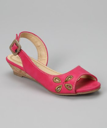 Fuchsia Flower Wedge Sandal