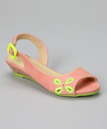 Peach Flower Wedge Sandal