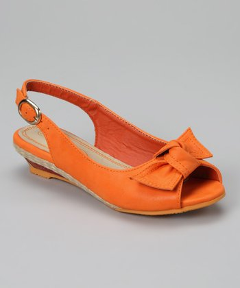 Orange Bow Slingback Sandal