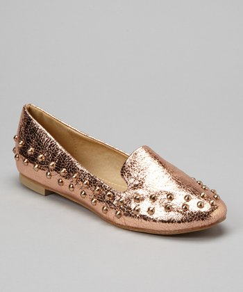 Rose Gold Studded Loafer