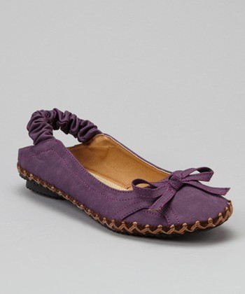 Purple Bow Slingback Flat