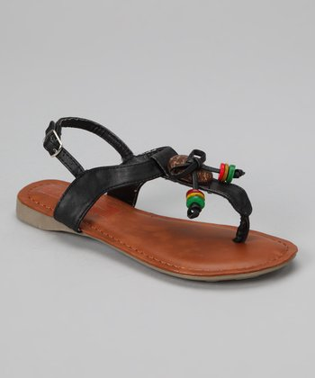Black Beaded Beach Sandal