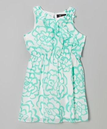 Mint & White Floral Ruffle Sleeveless Dress - Girls