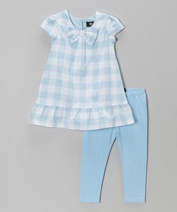 Blue Gingham Bow Tunic & Leggings - Infant, Toddler & Girls