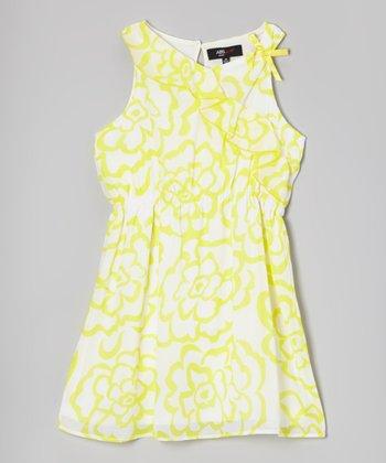 Yellow & White Floral Ruffle Sleeveless Dress - Girls