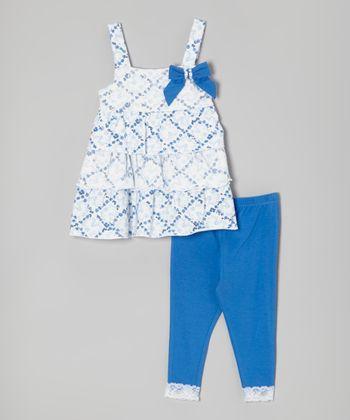 White & Blue Tiered Tunic & Leggings - Infant, Toddler & Girls