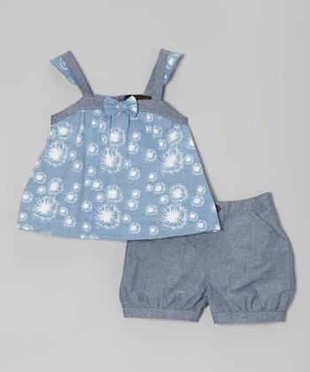 Blue & Gray Dandelion Tank & Shorts - Infant, Toddler & Girls