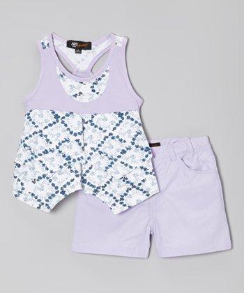Lavender & White Lattice Tunic & Shorts - Infant, Toddler & Girls