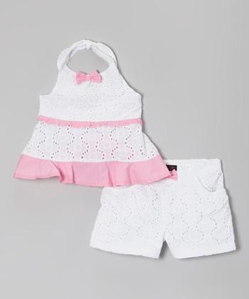 Pink & White Lace Halter Top & Shorts - Infant, Toddler & Girls