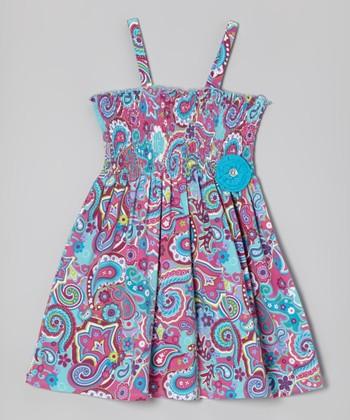 Purple & Blue Paisley Strap Dress - Girls