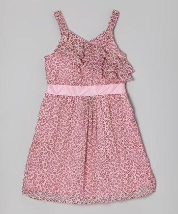 Pink Leopard Ruffle Dress - Girls