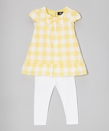 Yellow & White Gingham Tunic & Leggings - Infant, Toddler & Girls